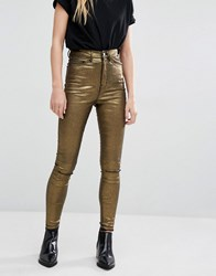 Waven Anika High Rise Metallic Coated Skinny Jeans Gold