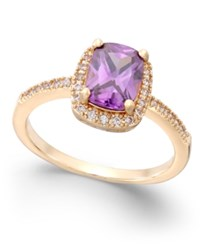 Charter Club Purple Stone Pave Rose Gold Tone Ring Only At Macy's