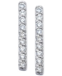 B. Brilliant Cubic Zirconia Pave Stick Earrings In Sterling Silver