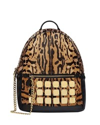 Mcm Stark Brass Plate Leopard Medium Backpack Animal Print