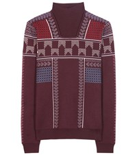 Peter Pilotto Jacquard Wool Blend Sweater Red