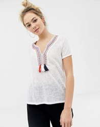 Brave Soul Selena Top With Embreoidery And Tassle Detail Cream