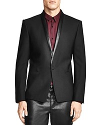 The Kooples Classic Fit Sport Coat With Leather Detailing Black