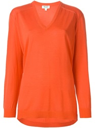 Kenzo V Neck Sweater Yellow And Orange