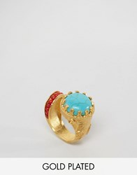 Ottoman Hands Turquoise And Red Stone Statement Ring Gold