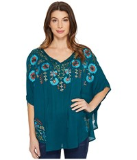Scully Dance Embroidered Top Teal Women's Clothing Blue