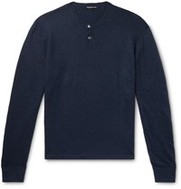 James Perse Cashmere Henley Sweater Blue