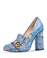 Gucci Marmont New Floral Loafer Pump Blue Pattern Blue Patterned