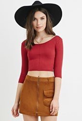 Forever 21 Ribbed Knit Crop Top Brick