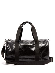 Balmain Debossed Logo Leather Holdall Black