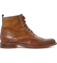 Dune Philomena Leather Brogue Ankle Boots Tan Leather