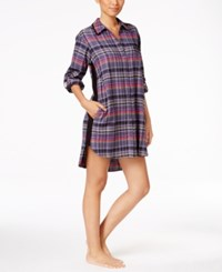 Dkny Patterned Flannel Boyfriend Sleepshirt Multi Plaid