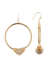 Vince Camuto Mixed Metal Ring Drop Earrings Gold Rhodium Crystal