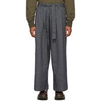 Naked And Famous Denim Grey Tweed Wide Trousers