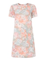 Untold Shift Dress With Floral Print Pink