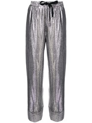 Roland Mouret Metallic Cropped Trousers Silver