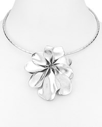Robert Lee Morris Soho Flower Pendant Statement Collar Necklace Silver