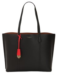 Tory Burch Perry Multicolor Leather Tote Bag Black
