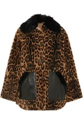 Yves Salomon Leather Trimmed Leopard Print Shearling Coat Leopard Print