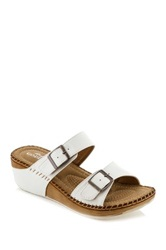 Godiva Buckle Wedge Sandal White