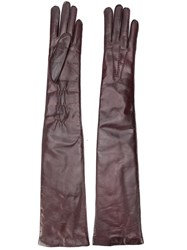 Ann Demeulemeester Long Leather Gloves Brown