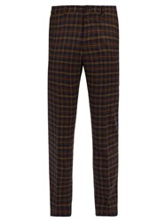 Connolly High Rise Wool Check Trousers Navy Multi