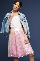 Anthropologie Sequined Tulle Skirt Pink