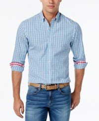 Weatherproof Men's Two Tone Check Long Sleeve Shirt Teal