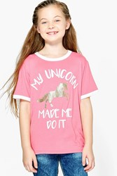 Boohoo My Unicorn Made Me Do It Tee Coral
