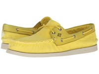 Sperry A O 2 Eye Wedge Canvas Yellow Men's Lace Up Casual Shoes