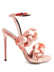 Marco De Vincenzo Plaited Velvet Sandals Light Pink