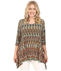 Karen Kane Plus Size 3 4 Sleeve Handkerchief Top Print Women's Long Sleeve Pullover Multi