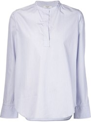 Atlantique Ascoli Band Collar Blouse Blue