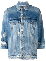 R 13 R13 Distressed Denim Jacket Blue