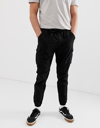 Pull And Bear Cargo Pants In Black Black