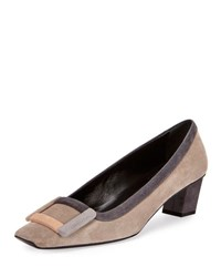 Roger Vivier Belle Graphic Buckle Pump Gray