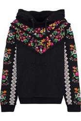 Needle And Thread Woman Cross Stitch Flower Embroidered French Cotton Blend Terry Hoodie Black
