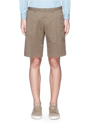 Canali Cotton Linen Drawstring Shorts Green