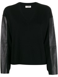 Twin Set Faux Leather Panelled Jumper 60