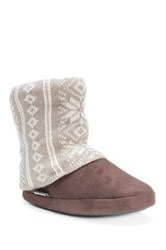 Muk Luks Legwarmer Scrunch Fleece Lined Bootie Brown