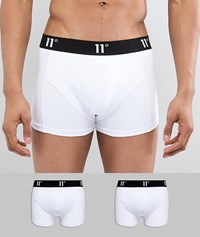 11 Degrees 2 Pack Boxer Trunks In White