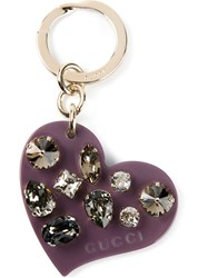 Gucci Heart Shape Keyring Pink And Purple
