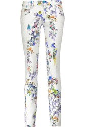Just Cavalli Low Rise Corded Lace Trimmed Floral Print Skinny Jeans Multi