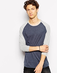 Solid Solid Long Sleeve Top With Contrast Raglan Sleeve Blue