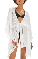 Topshop Women's Ladder Stitch Cover Up Caftan White