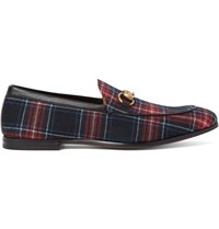 Gucci Horsebit Leather Trimmed Tartan Twill Loafers Red
