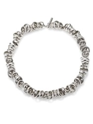 Pomellato 67 Sterling Silver Ringed Chain Link Toggle Necklace