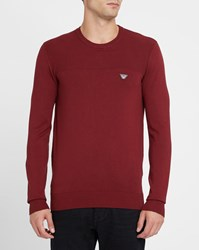 Armani Jeans Burgundy Double Knit Chest Logo Round Neck Sweater