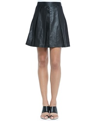 Proenza Schouler Pleated Leather A Line Skirt