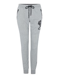 Religion Tapered Leg Large Skeleton Logo Tracksuit Bottoms Grey